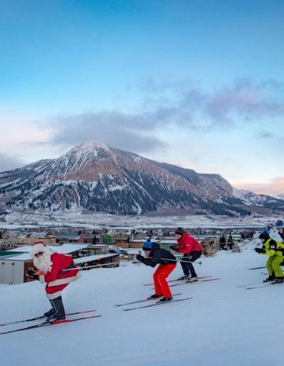 skiers with santa - photo cred Xavier Fane