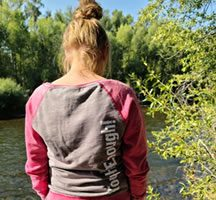 Sweater Womens Distressed Gray and Pink